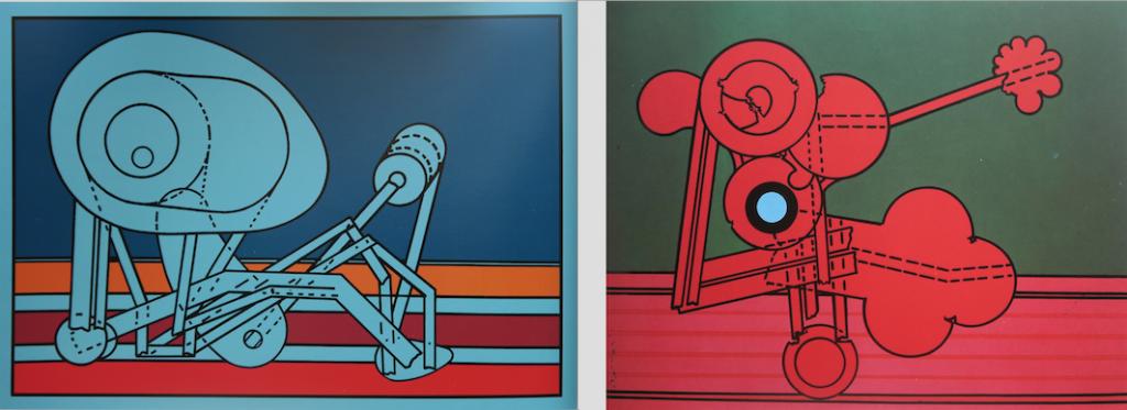 Renato Volpini, Macchina inutile n.3 e Macchine inutili, 1966, acrilico su tela